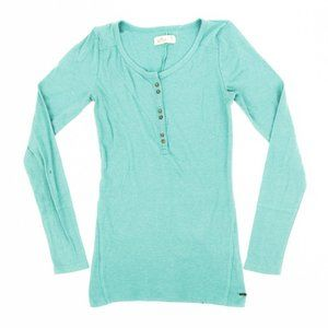 Hollister Sweater Long Sleeve Half Button Teal MD